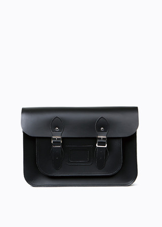 "LEATHER SATCHEL 15"" (black) B#LS1501"