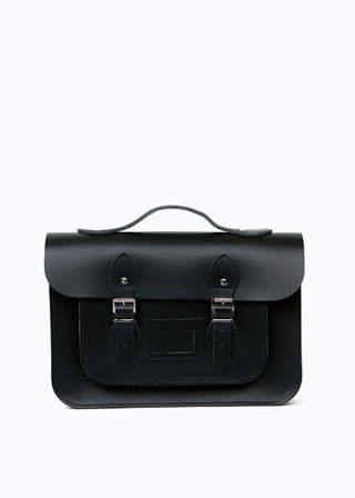"LEATHER SATCHEL 15"" (black/strap) B#LS1502"