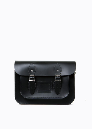 "LEATHER SATCHEL 13"" (black) B#LS1301"