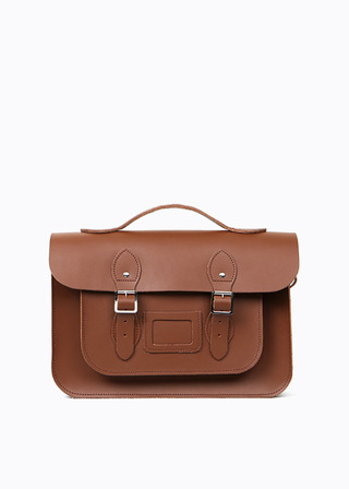 "LEATHER SATCHEL 15"" (brown/3way) B#LS1503"