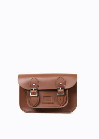 "LEATHER SATCHEL 8.5"" (brown) B#LS0801"