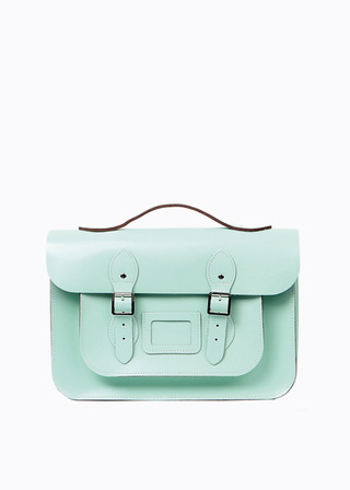 "LEATHER SATCHEL 15"" (MINT/strap) B#LS1502"