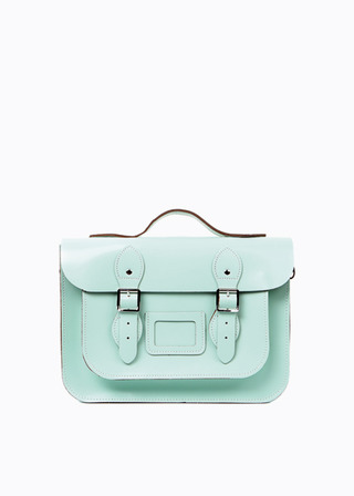 "LEATHER SATCHEL 13"" (MINT/strap) B#LS1302"