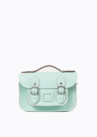 "LEATHER SATCHEL 8.5"" (MINT/strap) B#LS0802"
