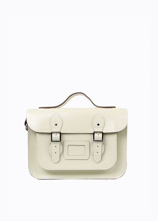 "LEATHER SATCHEL 13"" (IVORY/strap) B#LS1302"