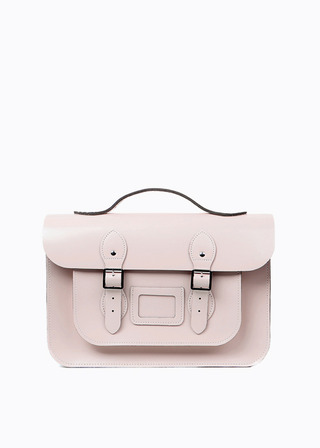 "LEATHER SATCHEL 15"" (PINK/strap) B#LS1502"