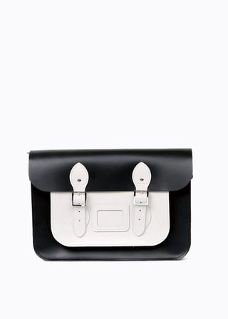 "LEATHER SATCHEL 15"" (COMBI-WHITE) B#LS1501"