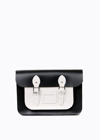 "LEATHER SATCHEL 13"" (COMBI-WHITE) B#LS1301"
